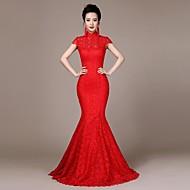 High Neck Self-cultivation Lace Satin Sweep/Brush Train Bride Cheongsam Dress/Ball Gown