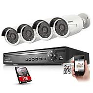 annke® 4ch poe nvr 4 720p 1.0MP ONVIF plein air balle caméras IP, balayage de code QR, sortie HDMI, USB sauvegarde (1To)