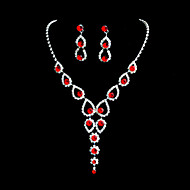 Beautiful Alloy Wedding/Party Jewelry Set With Rhinestone Red