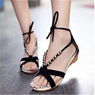 Suede Women's Low Heel Open Toe Sandals Shoes With Beading