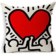 כיסוי כרית נוי בסגנון מודרני מופשט לב אדום בדוגמת כותנה / פשתן