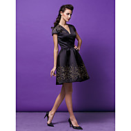 Cocktail Party Dress - Black / Watermelon Plus Sizes / Petite A-line / Princess V-neck Short/Mini Satin