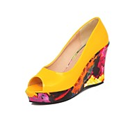 Women's Shoes  Patent Leather Wedge Heel Peep Toe  Pumps Shoes More Colors available