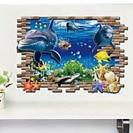 Zvířata 3D Samolepky na zeď 3D samolepky na zeď Ozdobné samolepky na zeď,Vinyl Materiál Snímatelné Home dekorace Lepicí obraz na stěnu