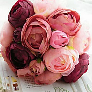 A Bouquet of 10 Silk Cloth Simulation Roses Wedding Bouquet Wedding Bride Holding Flowers,Fushia