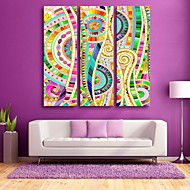 E-HOME® Stretched Canvas Art The Color Pattern Decorative Painting  Set of 3