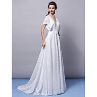 TS Couture Evento Formal Gala de Etiqueta Vestido - Espalda Bonita Corte en A Cuello en V Larga Jersey con Cinta / Lazo Plisado