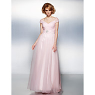 Prom / Formal Evening Dress - Blushing Pink Plus Sizes / Petite A-line / Princess Off-the-shoulder Floor-length Tulle