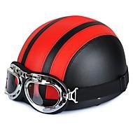 54-60cm Leather Motorcycle Goggles Vintage Garman Style Half Helmets Motorcycle Biker Cruiser Scooter Touring Helmet