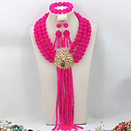 New African Wedding Beads Jewelry Set Crystal Necklace Bracelet Earrings Set AC028