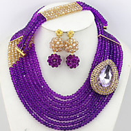 African Purple Beads Jewelry Set Women Gift Crystal Jewelry Necklace Beads Set