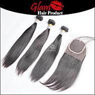 """3 ps 8 """"-28"""" hår bundter m / 1 stk 8 """"-18"""" gratis del lukning indian hår # 1b lige menneskehår med lukning"""