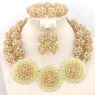 Fashion Nigerian Wedding African Beads Jewelry Set Crystal Beads Balls Necklace Set
