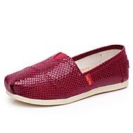 Women's Spring / Fall Round Toe Canvas Casual Flat Heel Sparkling Glitter / Plaid / Slip-on Black / Burgundy