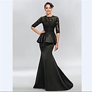 Trumpet/Mermaid Mother of the Bride Dress - Black Sweep/Brush Train Half Sleeve Satin/Lace