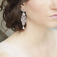 Big Rhinestones Pearls Long Vintage Dangle Brides Bridesmaids Wedding Party Earring