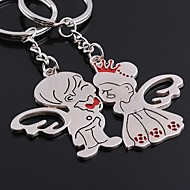Alloy Silver Plated Angel Keychain Key Ring for Lover Valentine's Day(One Pair)
