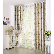 Country Curtains® One Panel Green Leaf Printing Blackout Curtain Drape