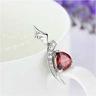 Women's Sterling Silver Necklace With Garnet SG0011P