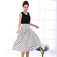 Women's White/Black Skirts , Casual Midi