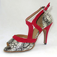 Customized Latin Women's Sandals Snake Print Dance Shoes