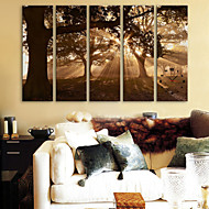E-HOME® The Tree Shadow Clock in Canvas 5pcs
