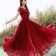 레이스 탑과 여성의 단색 맥시 쉬폰 드레스