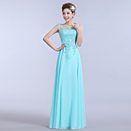 Formal Evening Dress A-line Strapless Floor-length Chiffon with Appliques / Beading / Embroidery