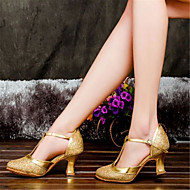 Women's Dance Shoes Latin Satin Chunky Heel Silver/Gold