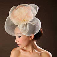 Women Satin/Tulle Flowers With Wedding/Party Headpiece Yellow/White