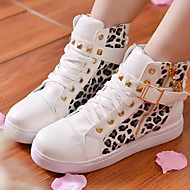 Women's Shoes Patent Leather Leopard Flat Heel Round Toe Rivet Fashion Sneakers Casual Black/White