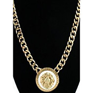 Women's Gold Alloy Lion Necklace With White Enamel