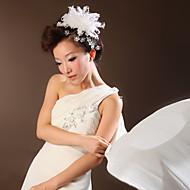 Capacete Flores Casamento/Ocasião Especial Cetim/Penas Mulheres Casamento/Ocasião Especial 1 Peça