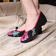 Women's Spring Summer Fall Canvas Casual Flat Heel Black Red