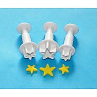 quatro c grande estrela rolou fondant / cortadores sugarpaste êmbolo, ferramentas fondant bolo decoração definida