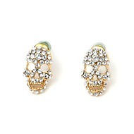 PEROY Women's/Unisex Stainless Steel/Brass Stud Earrings With Diamond
