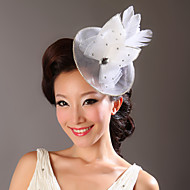 Women Feather/Tulle/Net Flowers With Rhinestone Wedding/Party Headpiece