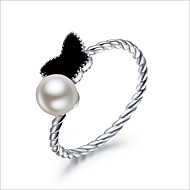Women's Sterling Silver Butterfly Ring With Pearl