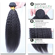 3stk / lot 10 '' - 26''peruvian jomfru hår naturlige sorte kinky glat hår uforarbejdede peruvianske vævning hår