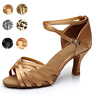 Customizable Women's Dance Shoes Latin Satin/Leatherette Customized Heel Black/Brown/Silver/Gold/Leopard/Other