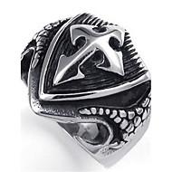 Vintage cruz de aço inoxidável escudo tribo Biker Mens anel prata preto