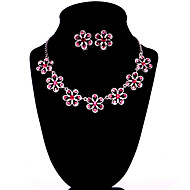Pink Alloy Wedding/Party Jewelry Set With Rhinestone