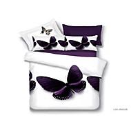 dekbedovertrek set, paarse vlinder pak het comfort eenvoudig modern gedrukt 3d patroon op ware grootte 4 stuks