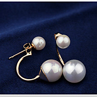 Lucky Star Women's Elegant Imitation Pearl Arc Earrings