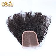 """10""""-20"""" ブラック フルレース Kinky Curly 人毛 閉鎖 ミディアムブラウン Chinese Lace 60g/piece グラム キャップサイズ"""