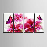 e-FOYER toile tendue art papillon et des fleurs rouges peinture décoration ensemble de 4
