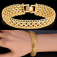 u7® Goldarmbandarmband Platin / 18K reales Gold überzog ausgefallene Muster klobige Kette Armband Modeschmuck
