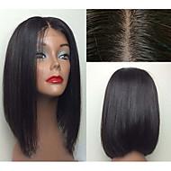 i lager 12 tums bob rak naturliga färg brasilianskt jungfruligt hår spets front peruk