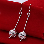 Fashion Round Shaped Silver Plating Snake Chain Hanging Hollow Ball Earrings Spherical Earrings Jewelry(Silver)(1Pc)