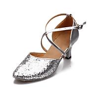 Non Customizable Women's Dance Shoes Modern Leatherette/Paillette Cuban Heel Black/Blue/Pink/Red/Silver/Gold